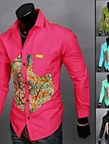 Men's Long Sleeve Shirt , Cotton/Cotton Blend Casual Print