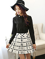 Women's Check Skirts , Sexy/Casual/Work Above Knee Pleated