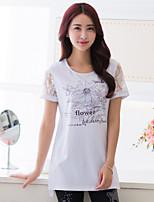 Women's Casual Plus Sizes Micro-elastic Short Sleeve Regular T-shirt (Cotton)