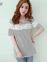Women's Striped Blue/Black T-shirt , Round Neck Short Sleeve