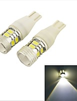 Car 12V T10 5630 8SMD LED Lens Turn Dashboard Tail Light Lamp 7W-White Light(2PCS)