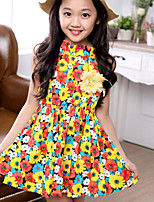 Girl's Fashion Sunflower Printing Sleeveless Dress