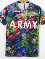 European Style TEE Digital Printing 3D T-shirt ARMY Flowers Harajuku Sleeved T-shirt
