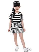 Baby Kids Girls Summer Cotton Lotus Sleeve Shoulder Striped Casual Sundress Dresses (Cotton)