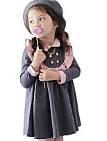 Kids Girls School Style Long Sleeved Puff Doll Collar Princess Party Pleated Dress (Cotton Blend)