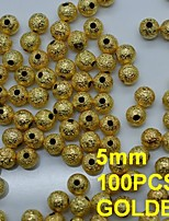 N136 100pcs/bag 5mm Ladies Round Shape Metal Rhinestones Golden Color with Hole for Rhinestones Nail Art