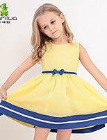 KAMIWA Girl's Summer Ball Gown Bowknot Belt Princess Dresses Sleeveless Vest Skirts Kids Clothes Children's Clothing