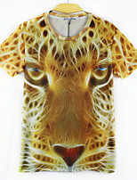 European Style TEE Digital Printing 3D  Animal Fluorescent Leopard T-shirt Harajuku Sleeved T-shirt