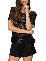 Women's Sexy Sequins Sheer Crew Neck Short Sleeve Casual Loose T-shirt