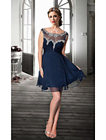 Homecoming Cocktail Party Dress A-line Jewel Knee-length Organza Women Short Party Dress