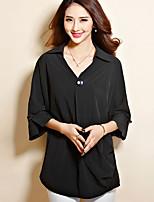 Women's Casual Plus Sizes Micro Elastic Sleeve Long Blouse (Chiffon Cotton)