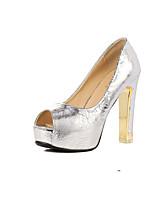 Women's Shoes  Cone Heel Heels/Peep Toe Pumps/Heels Casual Black/White/Gold