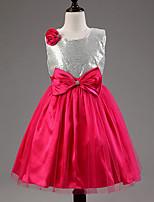 Flower Girl šaty - Bavlna/Tyl/Filtrový/Polyester Bez rukávů - Áčkový střih Po lýtka