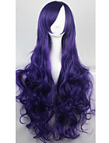 Cos Anime Bright Colored Wigs Deep Purple Curly  Hair Wig 80 cm