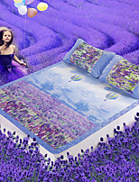 Johnson 3D Printing Romantic Lavender 3Piece Folding Ice Silk Mat 180 * 198 cm
