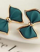 Sweet Bowknot Golden Alloy Stud Earrings(Green,Blue) (1 Pair)