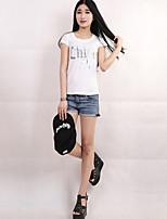 Women's Sexy Casual Cute Micro Elastic Short Sleeve Regular T-shirt (Cotton)