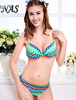 TIN07®Women's Padded Bras/Underwire Bra Color Block/Floral/Dot/Solid/Bandage/Geometric Halter Bikinis