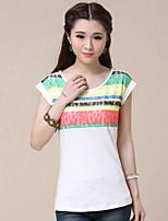 Women's Lace Beige T-shirt , Round Neck Short Sleeve Flower