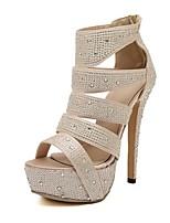 Women's Shoes Silk Stiletto Heel Platform/Open Toe Sandals Casual Black/Champagne