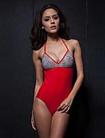 Women's Splicing Colors Hang Neck Type One-Piece Swimswear