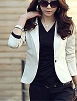 Women's White/Black/Yellow Blazer , Bodycon/Work Long Sleeve