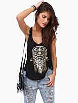 Women's Sexy Casual Cute Plus Sizes Micro Elastic Sleeveless Regular T-shirt (Cotton)