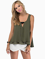 Women's Blue/Pink/White/Green Blouse , Sexy Strap Sleeveless