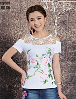 Women's Lace White T-shirt , Round Neck Short Sleeve Lace/Embroidery