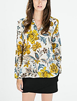Women's Floral Multi-color Shirt , V Neck Long Sleeve