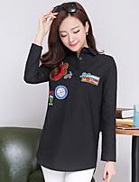 Women's Casual Micro-elastic Long Sleeve Long Shirt (Cotton)