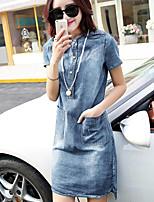 Women's Blue Denim Dress , Casual Short Sleeve
