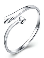 Women's Adjustable Angel Lover Wings Silver Ring