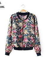 LIVAGIRL®Jacket Fashion Stand Neck Print Slim Zipper Coat Korean Style Casual All-Match Topwear Sun Block Outwear