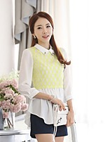 Women's Patchwork White Blouse , Shirt Collar ¾ Sleeve