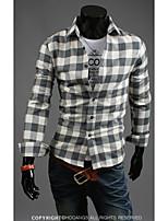 Camisa De los hombres Casual/Trabajo/Deporte Cuadros Escoceses/Un Color - Mezcla de Algodón - Manga Larga