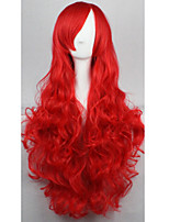 Cos Anime Bright Colored Wigs Bright Red Curly  Hair Wig 80 cm