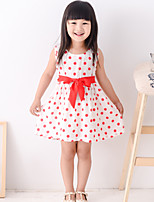 Girl's Summer Simple Polka-dots Sleeveless Dresses (Cotton Blends)