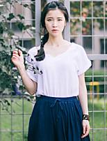 Women's Solid/Patchwork White/Green/Orange/Beige T-shirt , V Neck Short Sleeve