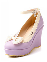 Women's Shoes Synthetic Wedge Heel Heels/Basic Pump Pumps/Heels Office & Career/Dress/Casual Black/Pink/Purple/Beige