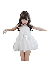 Kids Girl's Summer Sleeveless Bow Lace Beading Gauze Princess Party Dresses (Cotton/Lace)