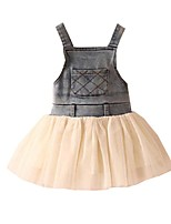 Baby Girls Gauze tutu Dress Princess Party Denim Vest Shoulder-straps Dresses (Cotton Blends)
