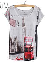 Tee-shirt Aux femmes Manches Courtes Col Arrondi Polyester/Mélanges de Coton