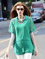 Sexy Casual Women Loose Large Short Sleeve See Through Patchwork Chiffon Blouse Shirt Summer Tops