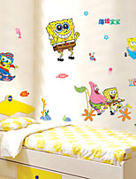 Wall Stickers Wall Decals, Cartoon SpongeBob SquarePants Beach Kids Room PVC Wall Stickers