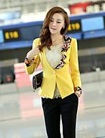Women's Blue/Black/Yellow Blazer , Work Long Sleeve