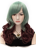 40cm Medium Long Mix Color Green Brown Wavy Curly Synthetic Hair Cosplay Lolita Party Wig