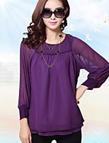 Women's Casual Inelastic ¾ Sleeve Regular Blouse (Chiffon)
