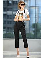Women's Print/Patchwork Multi-color T-shirt , Round Neck Short Sleeve