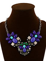 NEW Style Women's Eye-Catching Flower Alloy Necklace precious stone necklace Wedding/Party  1PCS